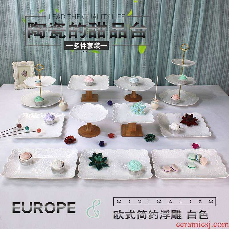 Wedding dessert table decoration furnishing articles show ceramic European tea buffet table cake dessert tray shelf