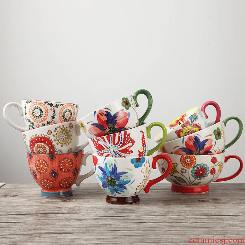 European - style hand - made ceramic cup creative breakfast cup of oatmeal milk cup large capacity large soup cup coffee cup