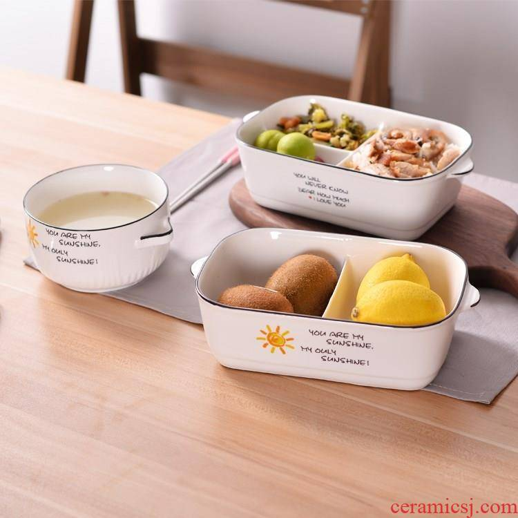 With cover space ceramic lunch box, the microwave for two or three points bento lunch box rectangle sealing bowl