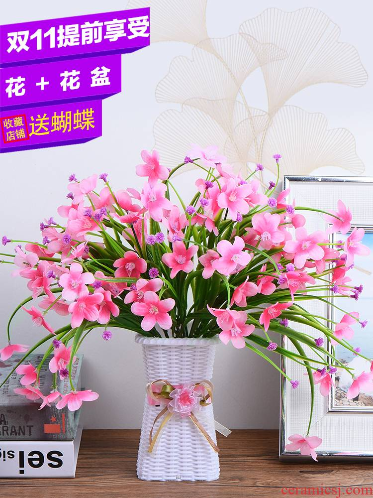 Dried flower adornment flowers simulation indoor home furnishing articles sitting room tea table decoration table plastic flowers small potted plant