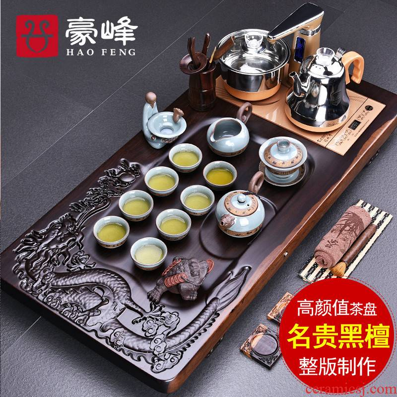 HaoFeng whole sheet of the ebony wood tea tray was purple sand tea sets of kung fu tea set suit household sharply stone tea sea