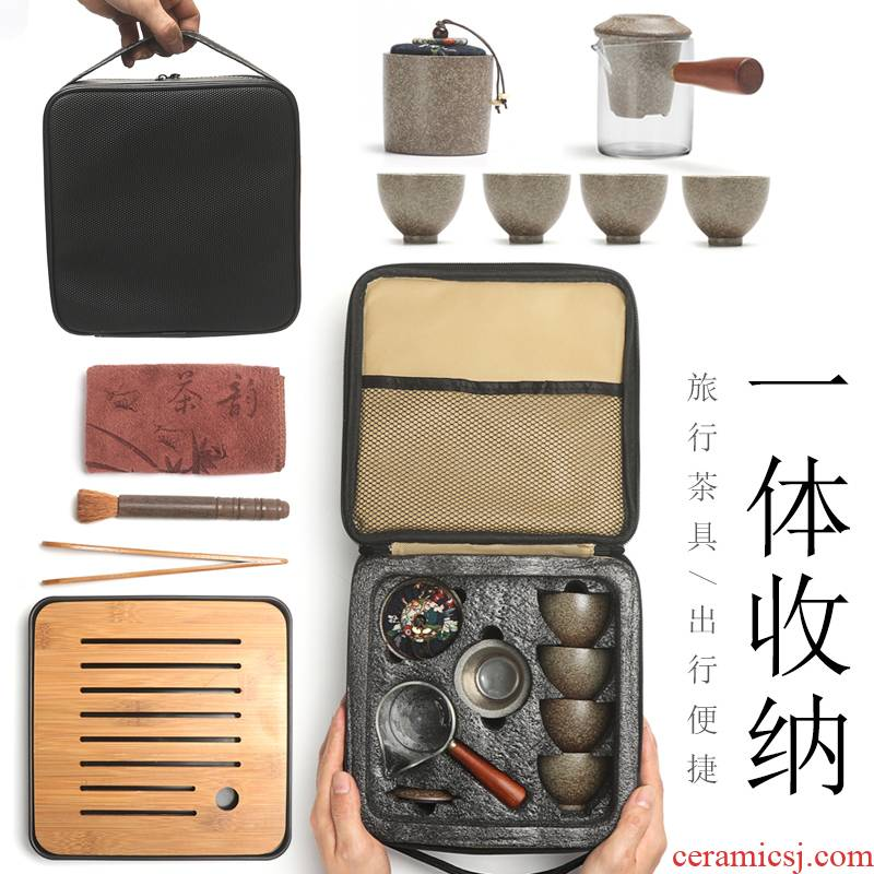 Travel portable kung fu suit simple household coarse pottery glass package contracted small mercifully tea pu 'er tea set the teapot