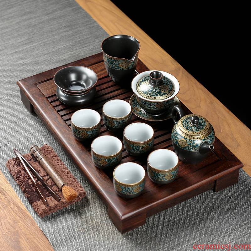 Poly real (sheng ebony wood tea tray was home brother your up up of a complete set of kung fu tea sets contracted Europe type small tea table