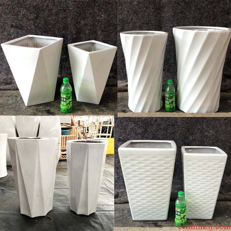 Large ceramic flower pot pure white contracted sitting room green plant ground flowerpot rich peace bonsai tree money tree, a flower pot