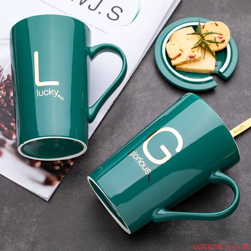 With cover letter ceramic cup spoon move creative trend couples mark cup men 's and women' s household milk coffee cup water