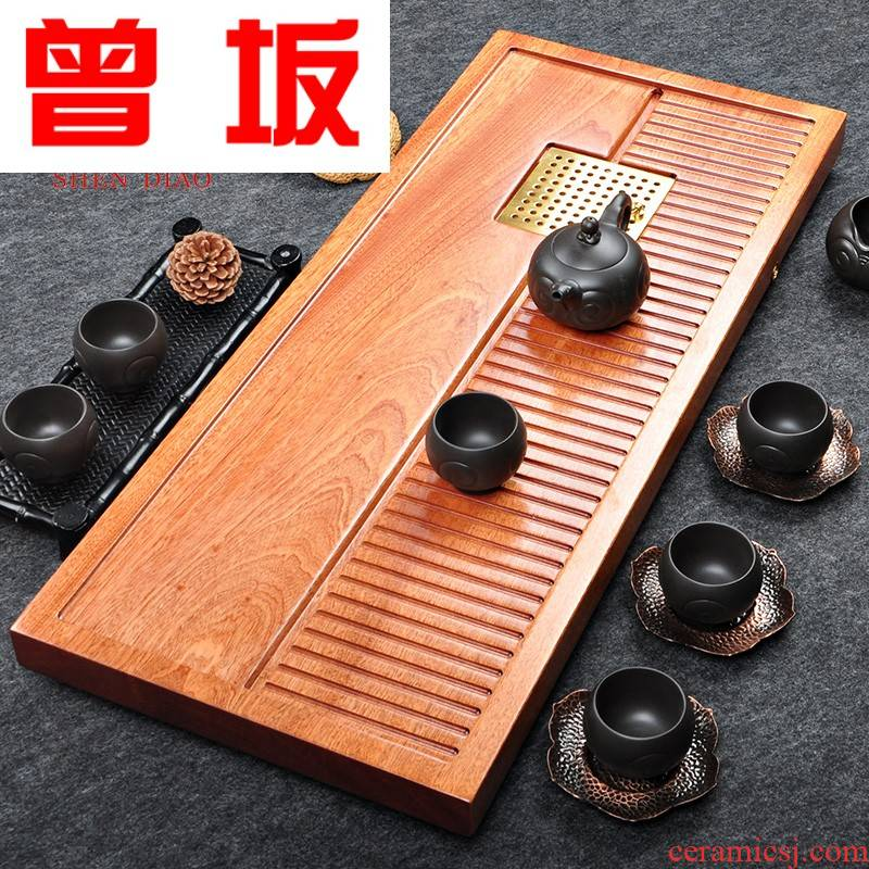 The Who -- solid wood tea tray was Taiwan rectangle kung fu tea tea sea the whole piece of solid wood pallet contracted drainage
