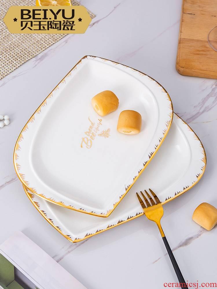 BeiYu bee ou son ipads porcelain dish plate household ceramics steak plate creative breakfast tray hotel tableware