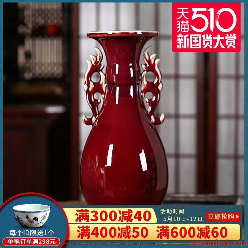 Jun porcelain of jingdezhen ceramics color glaze okho spring ears ruby red vase Chinese domestic act the role ofing handicraft furnishing articles