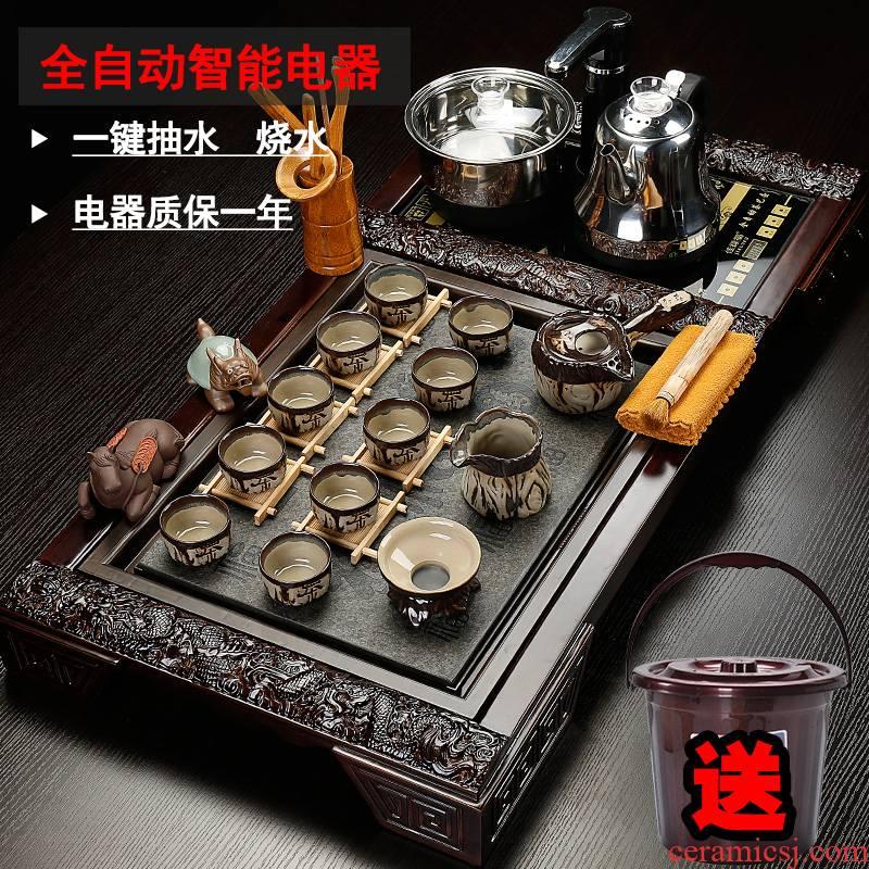 Back on purple sand tea set ceramic contracted household whole kung fu tea set solid wood tea tray automatically