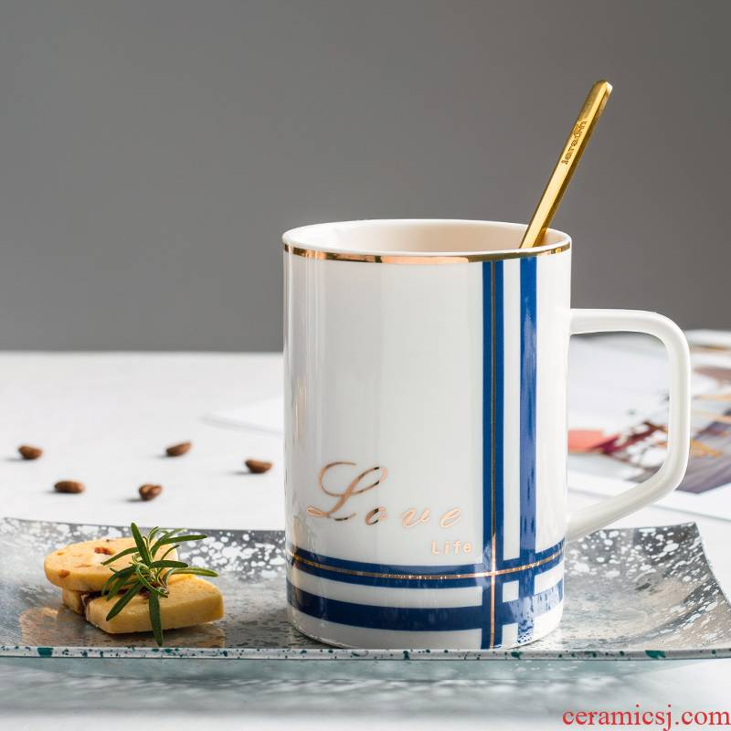 Creative Nordic ins ceramic cup with cover teaspoons of move of men and women lovers tide mark water cup home coffee cup