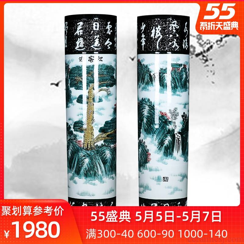 Jingdezhen ceramic quiver hand - made guest - the greeting pine of large vase home sitting room of Chinese style big furnishing articles hotel opening