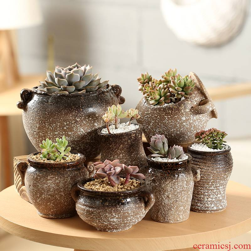 End fleshy indoor individuality creative coarse pottery flowerpot ceramics breathable special package mail large - sized large - diameter platter