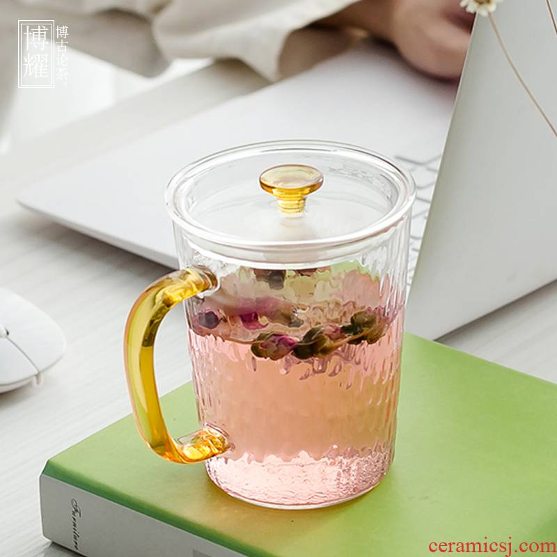 Bo yiu-chee heat - resistant hammer glass mugs flower tea cup home office with filtering cup coffee cup milk cup
