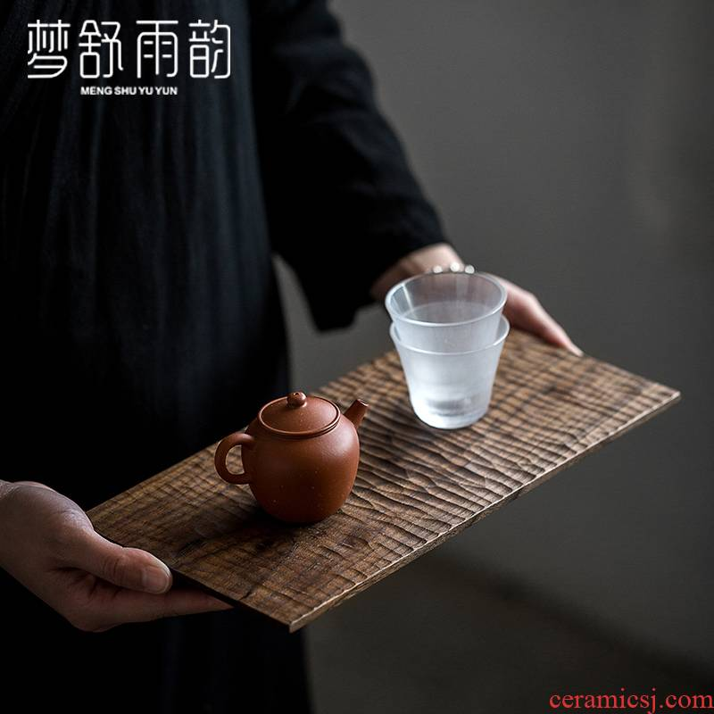 Dream ShuYu rhyme walnut tea tray was solid wooden pallet put tea tea cup home sitting room Japanese rectangle