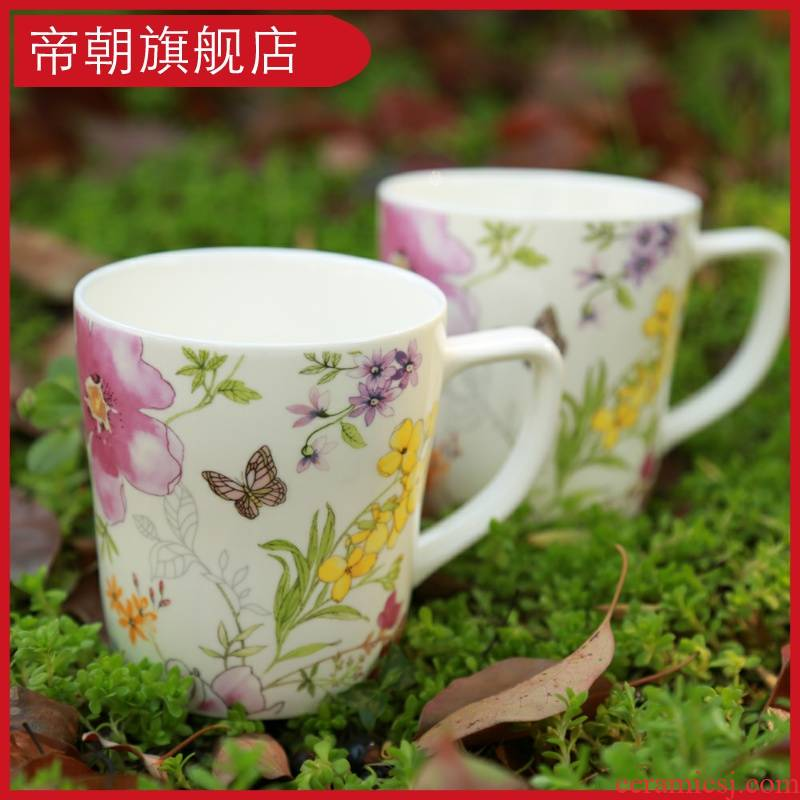 Mark cup ceramic keller cup tea cup handle Korean rural creative trend of flowers and the plants coffee cup milk cup
