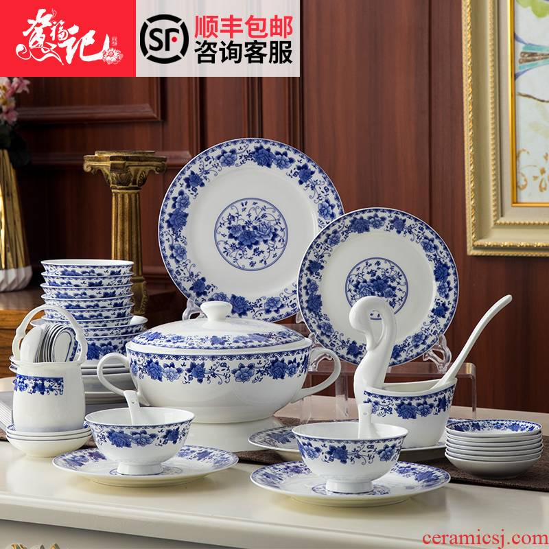 Dishes suit household of Chinese style restoring ancient ways of jingdezhen tableware suit glaze of blue and white porcelain bowls plate suit household gifts