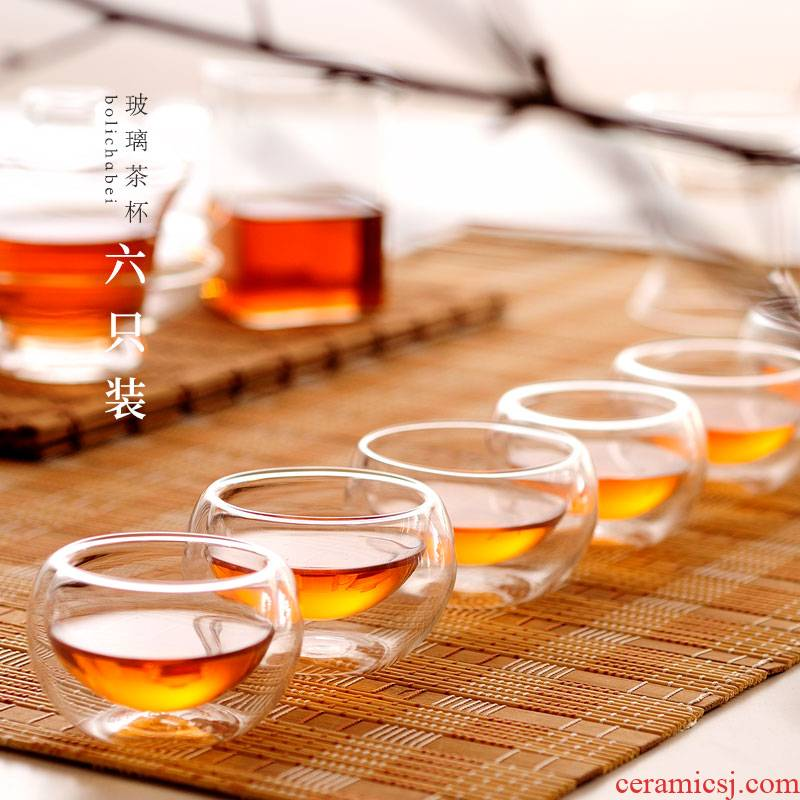 ZuoMing right is a single hot proof sample tea cup small little kung fu tea cup double deck glass tea set 6 pack