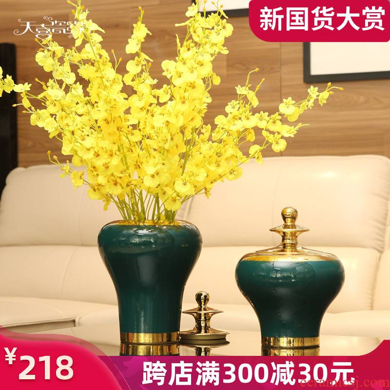 American light key-2 luxury ceramic vases, new Chinese style living room wine decorations furnishing articles European creative household act the role ofing is tasted