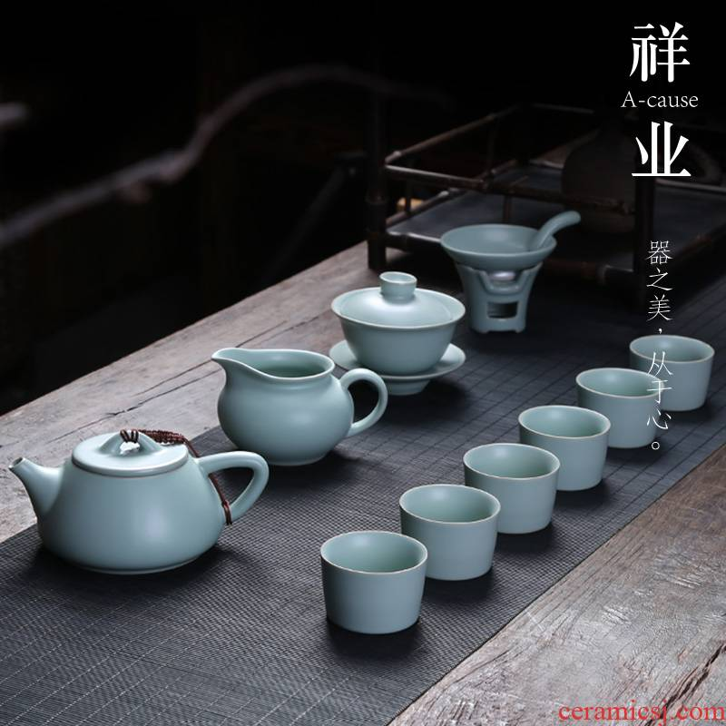 Auspicious industry your up kung fu tea set to open the slice of a complete set of ceramic teapot teacup tureen office household porcelain gift box