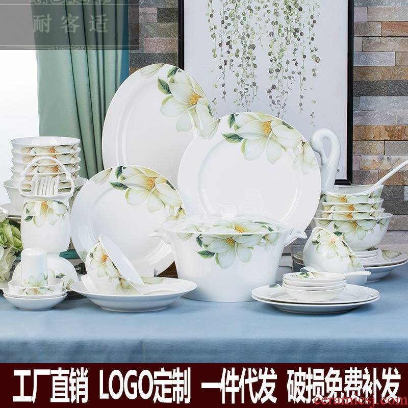Hold to guest comfortable jingdezhen ceramic bowl dish dish suits for 28 and 56 head love lily ipads porcelain tableware household gift set