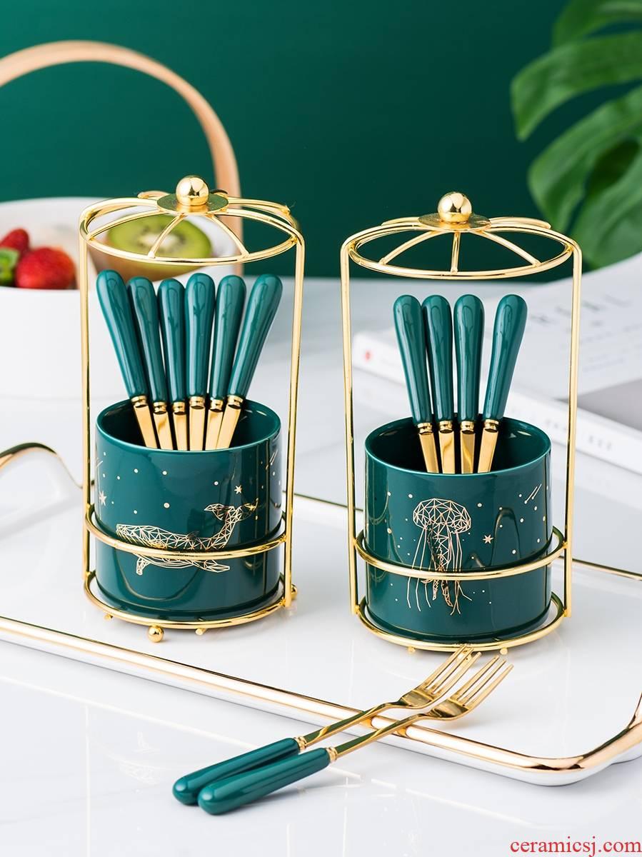 Emerald fruit fork suit light and decoration ceramics stainless steel fork dessert fork cake dessert fork fork household fruits to sign