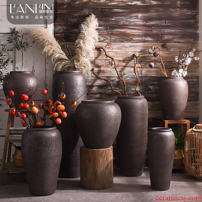 Chinese style restoring ancient ways is a large ground ceramic vase furnishing articles coarse pottery ceramic cylinder sitting room adornment flower arranging dried flower decoration