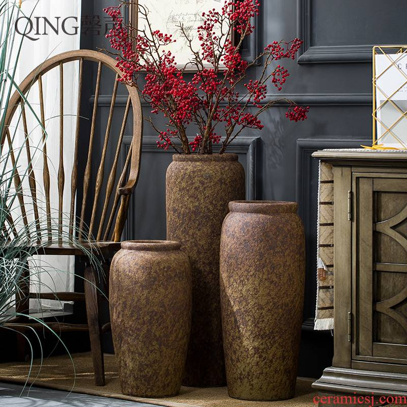 Landing a large vase Chinese style restoring ancient ways is dried flower arranging flowers vases sitting room hotel ceramic furnishing articles do old pottery by hand