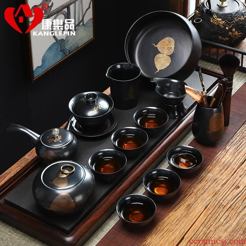 Recreational product lazy people make tea tea set fit home building light gold konoha semi - automatic kung fu ceramic side put the pot