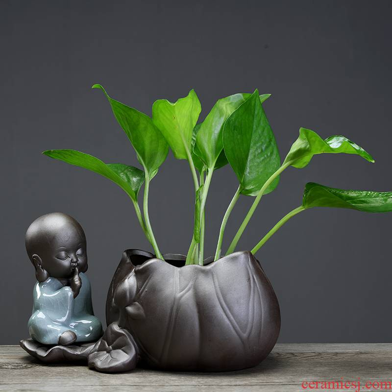 ZhuoJie young monk move hydroponic pottery other vases, ceramic container creative contracted household small adorn article