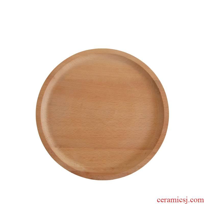 Ju wood real wood plate tray was set three circular plate tea tray bread cake pan
