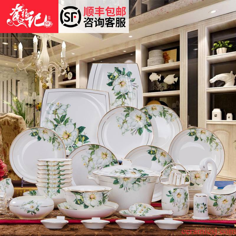 Dishes and cutlery set 60 head paint by hand ipads porcelain tableware Chinese rural household ceramic bowl dish dish sets