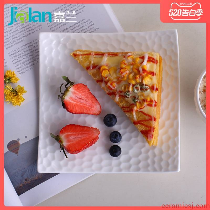 Garland ipads China western food of afternoon tea all the irregular square contracted creative emboss household ceramic plate