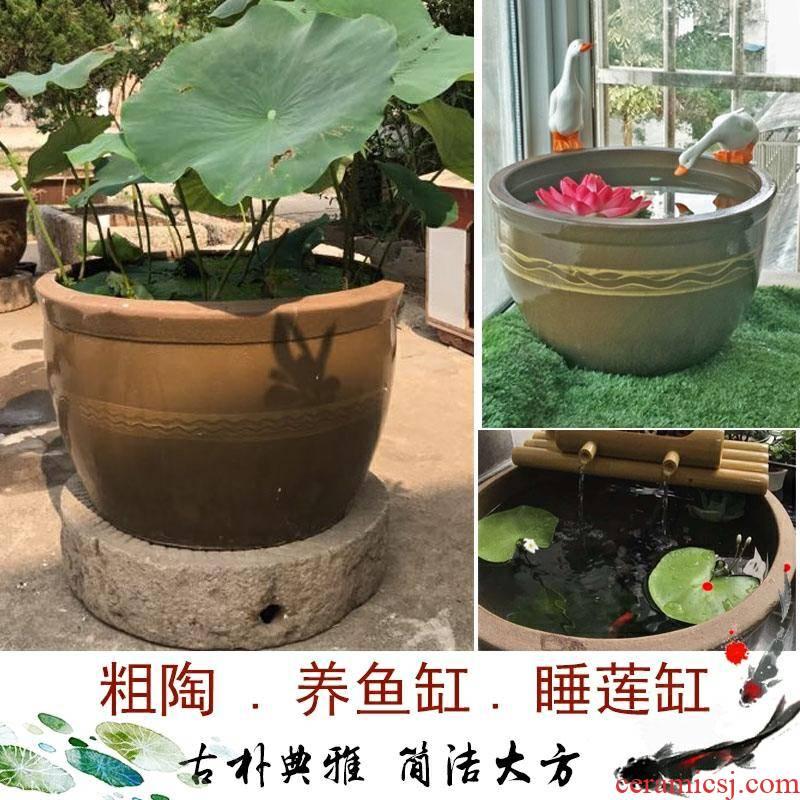 Coarse TaoYang koi fish VAT lotus lotus cylinder to cylinder storage tank large courtyard old pot fermentation cylinder