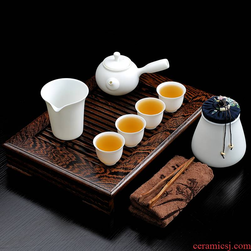 Bo yiu-chee biscuit firing suet jade teapot tea set suit household kung fu ceramic cups household small tea tray is contracted