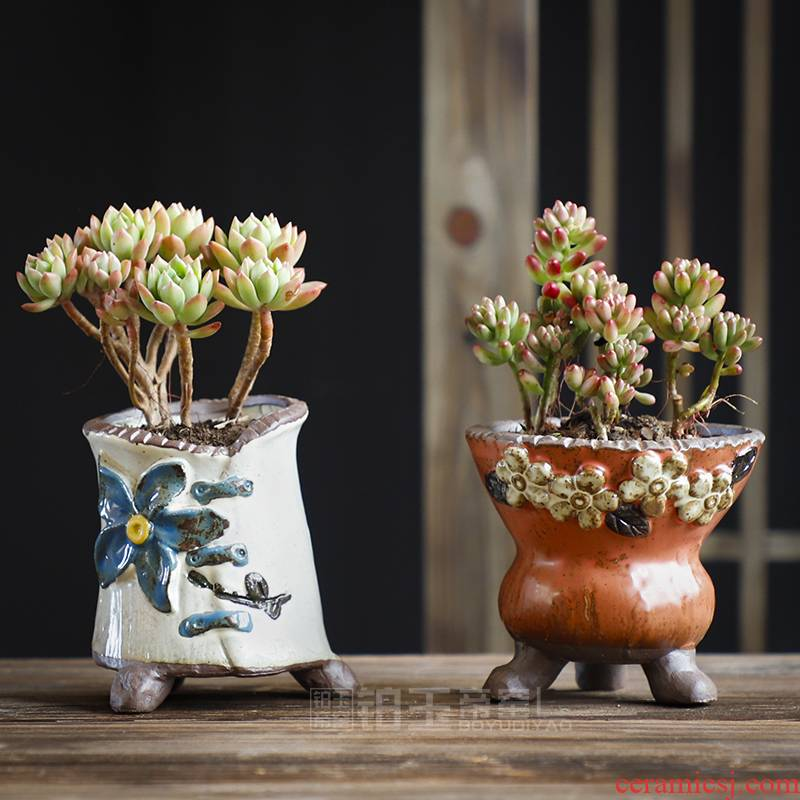 Platinum jade flower POTS, large diameter meat meat meat more coarse pottery breathable big running of small ceramic creative hand - made combination suit