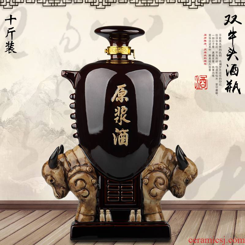 Jingdezhen ceramic bottle 10 jins to double cattle archaize home furnishing articles sealed mercifully wine jar jar empty wine