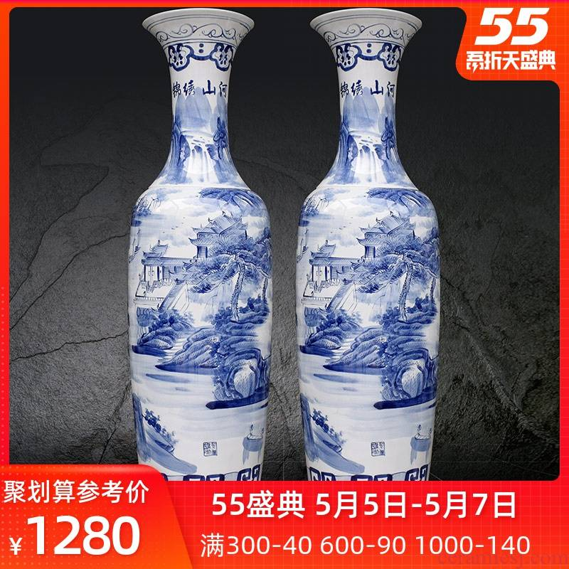 Blue and white porcelain of jingdezhen ceramics hand - made scenery splendid sunvo landing big vase household hotel furnishing articles