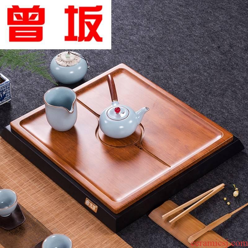 Once sitting consolidation piece of flat tea tray was solid wood tea sea bamboo kung fu tea heavy bamboo tea tray drawer drainage