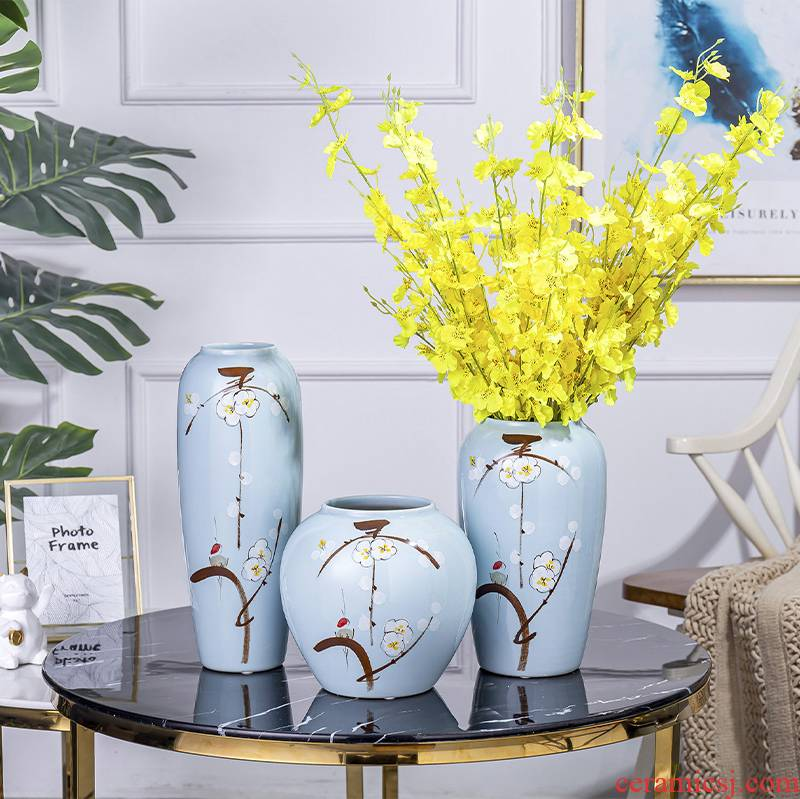 The Modern new Chinese vase household TV ark, porch place jingdezhen ceramic dry flower arranging flowers sitting room adornment