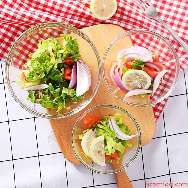 Baosteel at the South Pole, transparent glass bowl bowl of fruit salad bowl large tableware wash bowl of salad plates can microwave