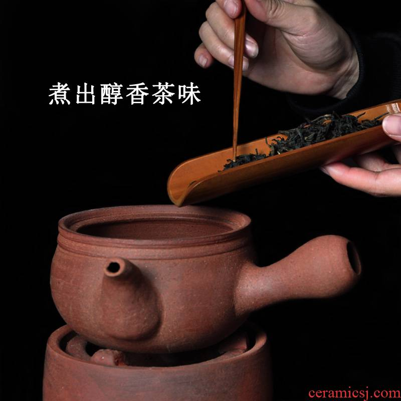 Violet arenaceous coarse pottery boiled tea water jug suit for the pure manual sand pot kettle charcoal stove Diao TaoLu boiled tea machine