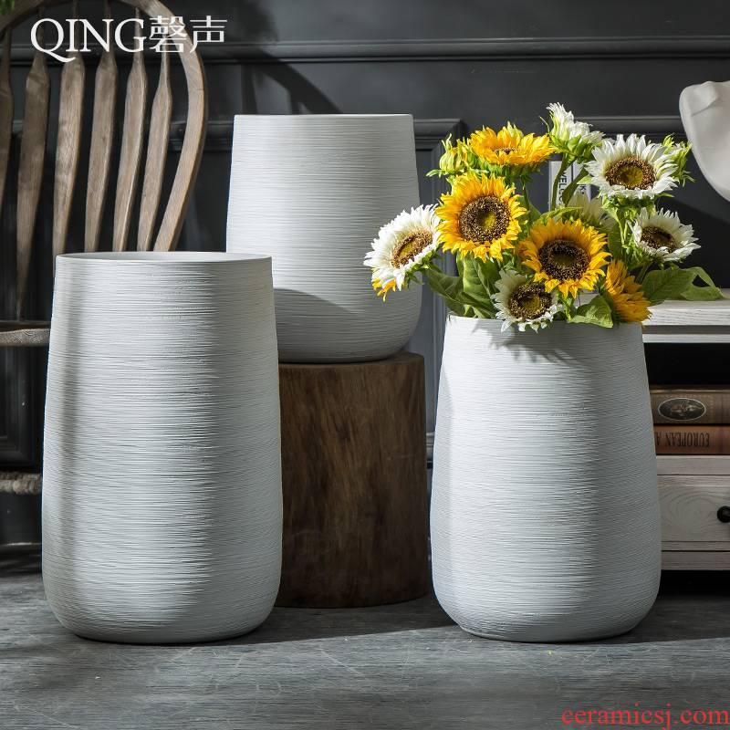 Nordic contracted VAT flowerpot garden large ceramic vase landing garden villa decoration place flowerpot flower bed