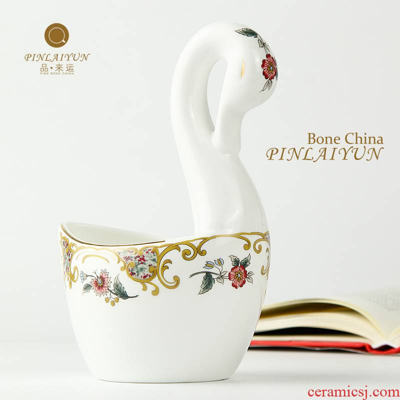The Form a complete set of tea products to transport 】 【 holding coffee spoon, fruit fork swan