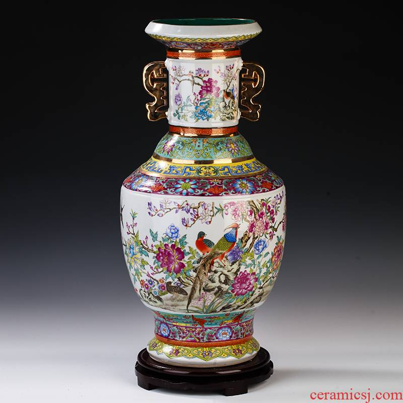 Jingdezhen archaize enamel made pottery porcelain floor ears vase study Chinese style of the sitting room porch TV ark, furnishing articles