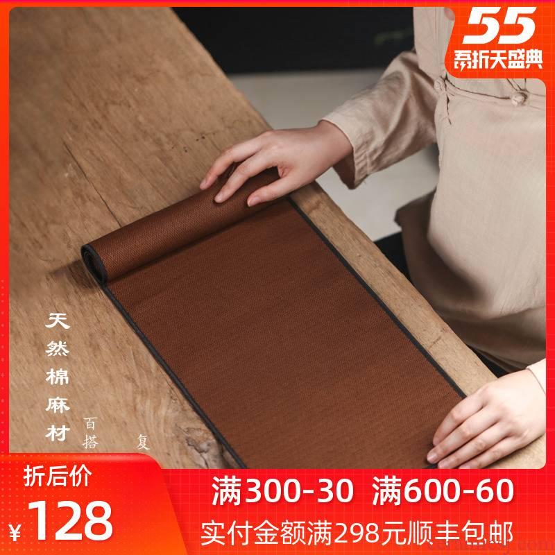 Bright zen Japanese tea mat cotton and linen cloth cloth art of jingdezhen kung fu tea accessories table cloth home tea flag