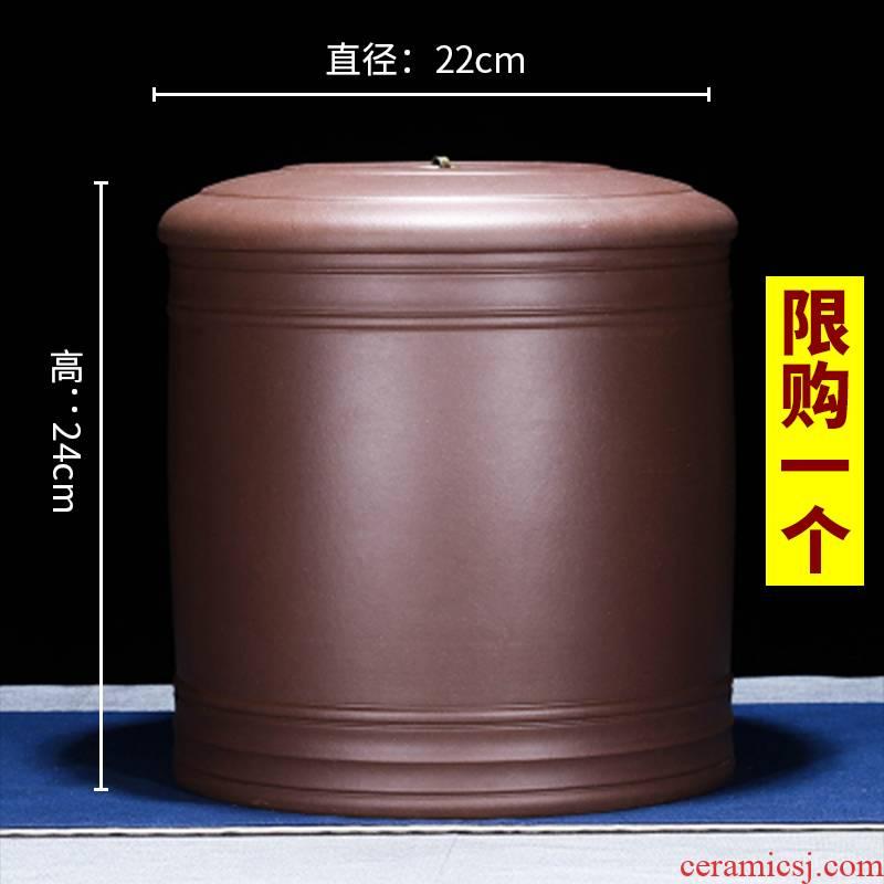 Park next to heavy yixing purple sand tea pot code manual sealing up bread seven pu 'er tea ware ricer box cylinder storage