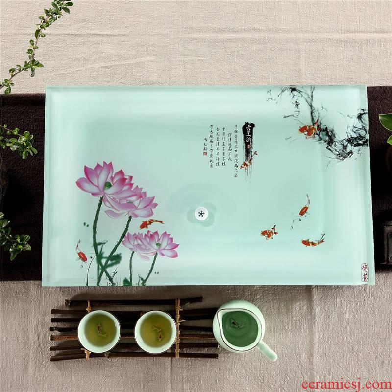 Qiu time household I and contracted kung fu tea tea tray sets a single small toughened glass tea table small tea set