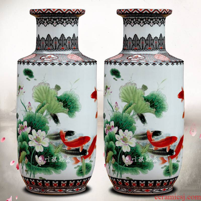 Jingdezhen porcelain lotus fish dry flower arranging flowers sitting room of modern technology of large vase household act the role ofing is tasted furnishing articles
