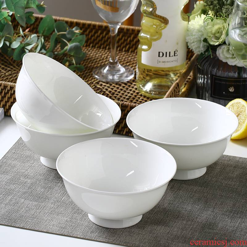 Use of household single ceramic rice Bowl set tableware bowls of pure 10 simple dishes ipads China five inch Bowl