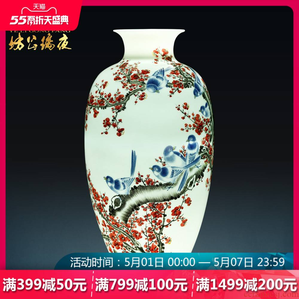Jingdezhen ceramics hand - made beaming Chinese blue and white porcelain vases, flower arrangement sitting room place, household act the role ofing is tasted